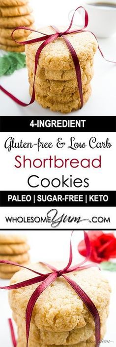 4-Ingredient Gluten-free Shortbread Cookies (Low Carb, Sugar-free) - These buttery, low carb & gluten-free shortbread cookies are made with almond flour. Only 1g net carbs each, they're sugar-free, paleo, and THM S, too.