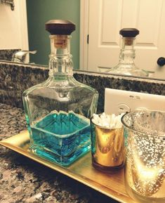 Must find a pretty vintage bottle for my mouthwash now! Jack Daniels bottle recycled as a mouthwash holder, much prettier than plastic bottles Jack Daniels Bottle, Do It Yourself Baby, Ideas Para Organizar, Ideias Diy, Recycled Bottles, My New Room, Home Projects, Diy Home Decor, Inexpensive Home Decor