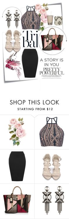 """""""River Island handbag"""" by amn-d ❤ liked on Polyvore featuring Post-It, Triya, WearAll, River Island, DANNIJO, outfit, tribal and Elegant"""