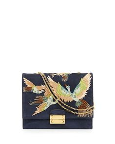 Bird Embroidered Suede Shoulder Bag by Valentino at Bergdorf Goodman.