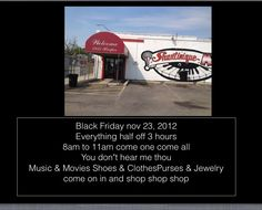 """Shantinique Music & Sportswear                                               8933 Harper Ave.  Detroit ,Michigan 48213  (313)923-3040 Come one come all to Shantinique music Black Friday Sale  Th   e entire store for 3 hours  half off You don""""t hear me thou  that""""s shoes clothes  Purses and jewelry movies and music  for 3 hours only  That""""s 8am until 11am Black Friday Nov 23, 2012            Black Friday Three Hour Sale!! At Shantinique Music and Sportswear  8933 Harper 8am to 11:00…"""