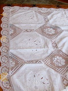 Antique Embroidered White Tablecloth