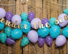 Purple Mermaid Birthday Decor under the sea party Mermaid Mermaid Theme Birthday, Little Mermaid Birthday, Little Mermaid Parties, 4th Birthday, Birthday Ideas, Mermaid Cupcake Toppers, Mermaid Cupcakes, Party Kulissen, Movie Party