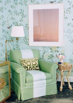 #nursery, #whimsical, #reading-chair, #wallpaper, #green, #kids-bedroom    View entire slideshow: 20 Whimsical Nurseries on http://www.stylemepretty.com/collection/479/