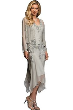 c5b62e74e1c7 Autoalive Chiffon Mother of the Bride Dresses with Jacket Appliques Silver  8   Read more at