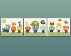 Boy Nursery Decor, Boy Nursery Wall Art, Wall Art Baby Decore, set 3 8x10, Train Nursery, Owl, Elephant, Giraffe,Circus Friends Nursery