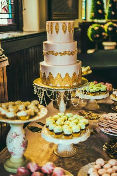 Pink and gold wedding cake //  James Byrd Photography // Sweet Surrender Dessert Café // http://www.theknot.com/submit-your-wedding/photo/865f760c-e989-4323-9cdd-008eb92cec7c/Guess-Wedding