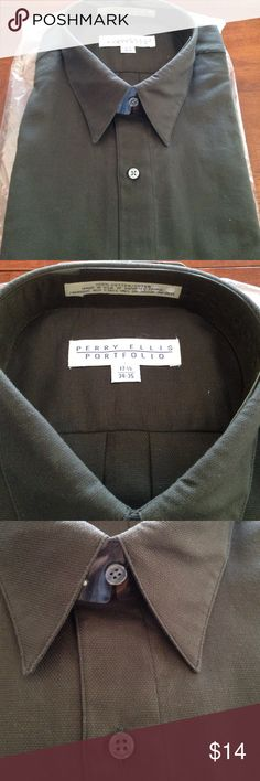 Men's long sleeve dress shirt New Men's dress shirt in more of a charcoal black.  Material is a little thicker than the usual cotton dress shirt.  Size 17 1/2 x 34/35 Perry Ellis Shirts Dress Shirts