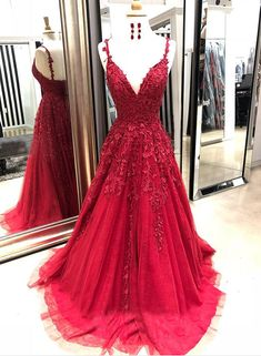 Burgundy tulle v neck long spring prom dress with lace appliqué from Sweetheart Dress - Vestidos , Cheap Prom Dresses, Dance Dresses, Ball Dresses, Sexy Dresses, Evening Dresses, Dress Outfits, Long Dresses, Wedding Dresses, Summer Dresses