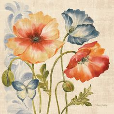 RB8825PG <br> Watercolor Poppies Multi I <br> 18x18