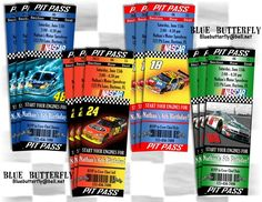 NASCAR Party Invitation Ticket Style. Choose your favourite driver. Printable and Customized with your personal party details. Bluebutterfly@bell.net | BlueButterfly - Digital Art  on ArtFire