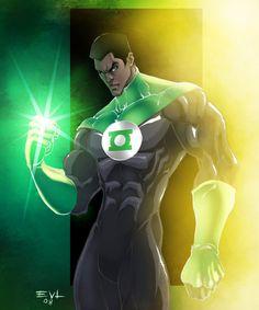 John Stewart, The Green Lantern by ErikVonLehmann on deviantART Green Lantern Corps, Green Lantern 2011, Green Lanterns, Dc Comics, Black Comics, Comic Book Heroes, Comic Books Art, Comic Art, Dc Heroes