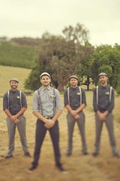 Groomsmen idea. cute outfits bad pose. the hands in front draw all the attention to the crotch, not good.