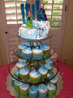 Frozen North Mountain Cupcake Tower With Anna Elsa And Olaf Play Set From Walmart Rock Candy Partycity