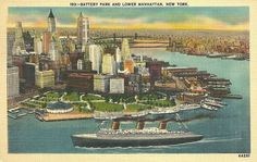 Battery Park & Lower Manhattan, New York Linen Vintage Postcard Unused