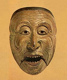 """A mask of Japanese Bugaku. For """"Saisourou"""" 1249. Kamakura era. This is nightmare material in my childhood"""