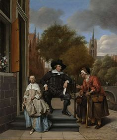 Legs spread, hand on hip, Croeser sits comfortably on the stoop of his house on Oude Delft in Delft. His 13-year-old daughter Catharina is looking directly at us. Jan Steen added a narrative element to the portrait: paupers asking the wealthy grain merchant for alms. Two years later, in 1657, Croeser acted as guarantor for Steen, who was then deeply in debt. Portrait of Adolf en Catharina Croeser on Oude Delft, Jan Havicksz. Steen, 1655.