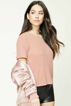 Ribbed Slub Knit Boxy Top