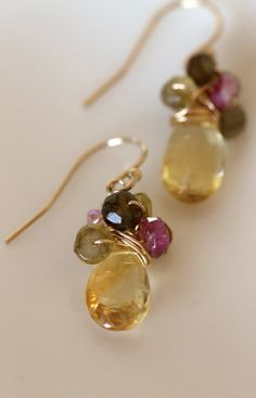 Citrine pear shaped briolettes with six green and pink 4mm faceted tourmaline wire wrapped rondelles on each earring