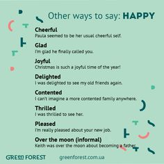 Synonyms to the word HAPPY Other ways to say HAPPY