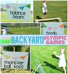 Olympic Games For Kids, Olympic Idea, Kids Olympics, Summer Olympics, Backyard For Kids, Backyard Games, Backyard Carnival, Backyard Playground, Summer Games