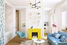 Свежий интерьер однокомнатной квартиры для молодой девушки