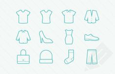 vector clothes icons t-shirt dress skirt shoes sock hat