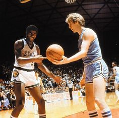 Future NBA Hall of Famers Earvin Johnson and Larry Bird try to figure something out during the 1979 Championship game between Michigan State and Indiana State.