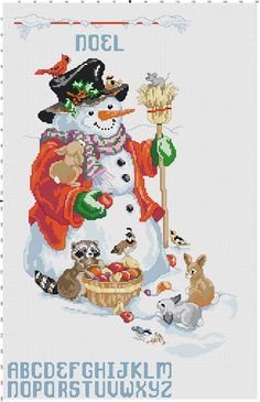Snowman and Friends by Stitchluv on Etsy