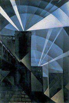 The First Searchlights at Charing Cross, 1914 - Christopher Richard Wynne Nevinson - Leeds Art Gallery Prints World War One, First World, Leeds Art Gallery, Ww1 Art, Art Deco, Art Uk, City Art, Light In The Dark, Oil On Canvas
