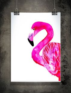 Flamingo print by Sofie Rolfsdotter via Etsy Flamingo Decor, Pink Flamingos, Graffiti, Pink Bird, Tropical, Illustration Art, Flamingo Illustration, Decoration, Poster Prints