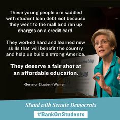 Elizabeth Warren on Student Loan Debt