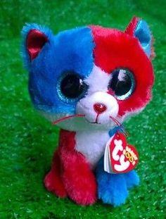 NEW RARE Ty Beanie Boo FIRECRACKER CAT READ Soft Plush Toy | eBay