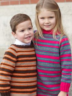 Free Pattern - These top down striped sweaters are a classic cool-weather piece for stylish kids. #knit