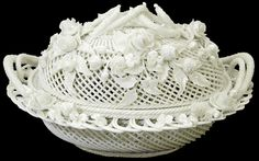 Antique Belleek Irish porcelain, a very complex design completely fabricated by hand.