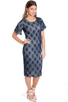 Modest Blue Lace Overlay Semi Formal Dress