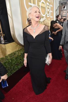 Helen Mirren golden globes 2016, one of the classiest dresses of the event