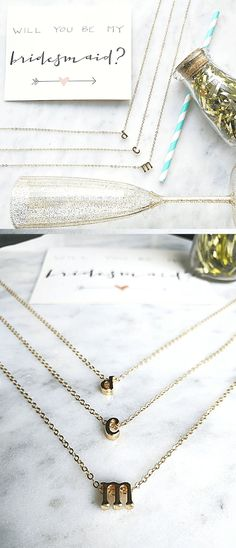 Bridesmaid Gifts - Mini Initial Necklaces $14