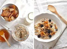 Granola aux flocons d'avoine, de sarrasin, de millet, riz soufflé, noisettes en morceaux, raisins secs, poires séchées coupées en morceaux, miel