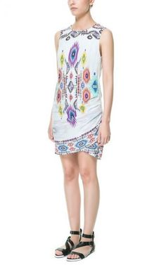 White Sleeveless Geometric Print Pleated Dress -SheIn(Sheinside) Mobile Site
