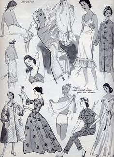 vintage lingerie fashion drawings