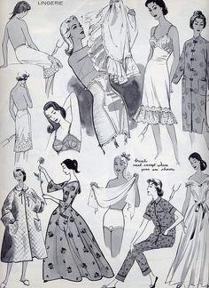 vintage lingerie fashion drawings