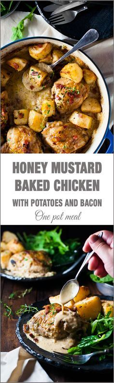 Honey Mustard Baked Chicken with Roast Potatoes and Bacon - all made in one pan! Easy enough for midweek, fancy enough for a dinner party!