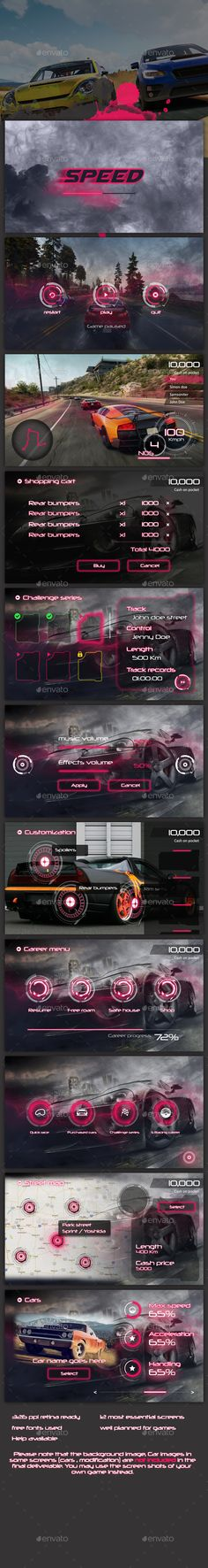 Sci-fi Racing Game UI - #User #Interfaces #Game Assets Download here: https://graphicriver.net/item/scifi-racing-game-ui/19649746?ref=alena994