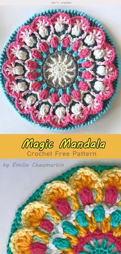 Magic Mandala Crochet Free Pattern - - Magic Mandala Crochet Free Pattern is g perfect project to stretch your crochet skills. You will love it because of so many color combinations you can use. Crochet Dreamcatcher Pattern Free, Free Mandala Crochet Patterns, Crochet Mandala Pattern, Crochet Motifs, Crochet Squares, Crochet Designs, Knitting Patterns Free, Free Crochet, Free Pattern
