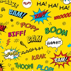Comic Adventures: Sound Effects on yellow fabric by jazzypatterns on Spoonflower - custom fabric