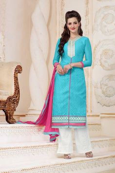 Exclusive Blue With Pink Colour Casual Suit