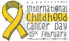 Commemorative banner with ribbon in doodle style, colored with yellow-golden markers and handwritten sign for International Childhood Cancer Day on February 15.