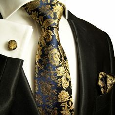 Navy and Gold Paul Malone Silk Tie Set