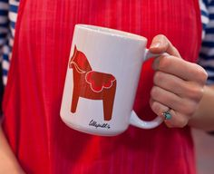 Red Dala Horses and Hearts Printed Mug by LilleputtStudio on #Etsy, $15.00